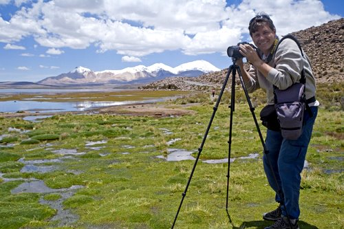 Photographing at Lake Chungara, Chile (photo: Steve Green)